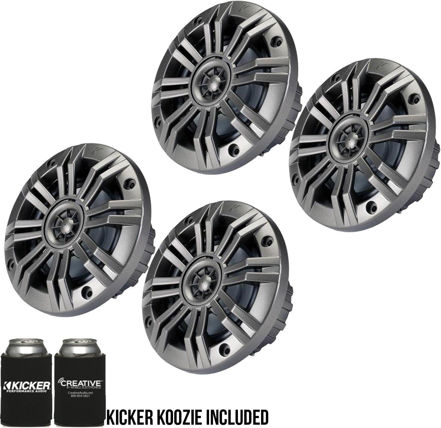 Kicker 4 Inch KM-Series Marine Speaker Bundle 41KM44CW with Black Wake Tower Enclosure