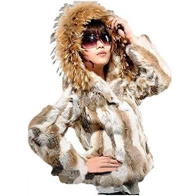 100% Real rabbit women's fur short fur coat With a large raccoon fur collar hat