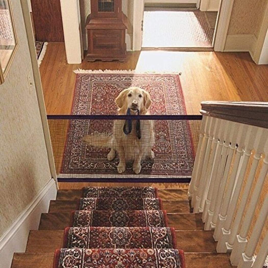 Eroihe Puerta de Seguridad para Perros Plegable Port/átil Red de Aislamiento de Mascotas Gato Perros Valla Protectora de Seguridad 110 x 72cm