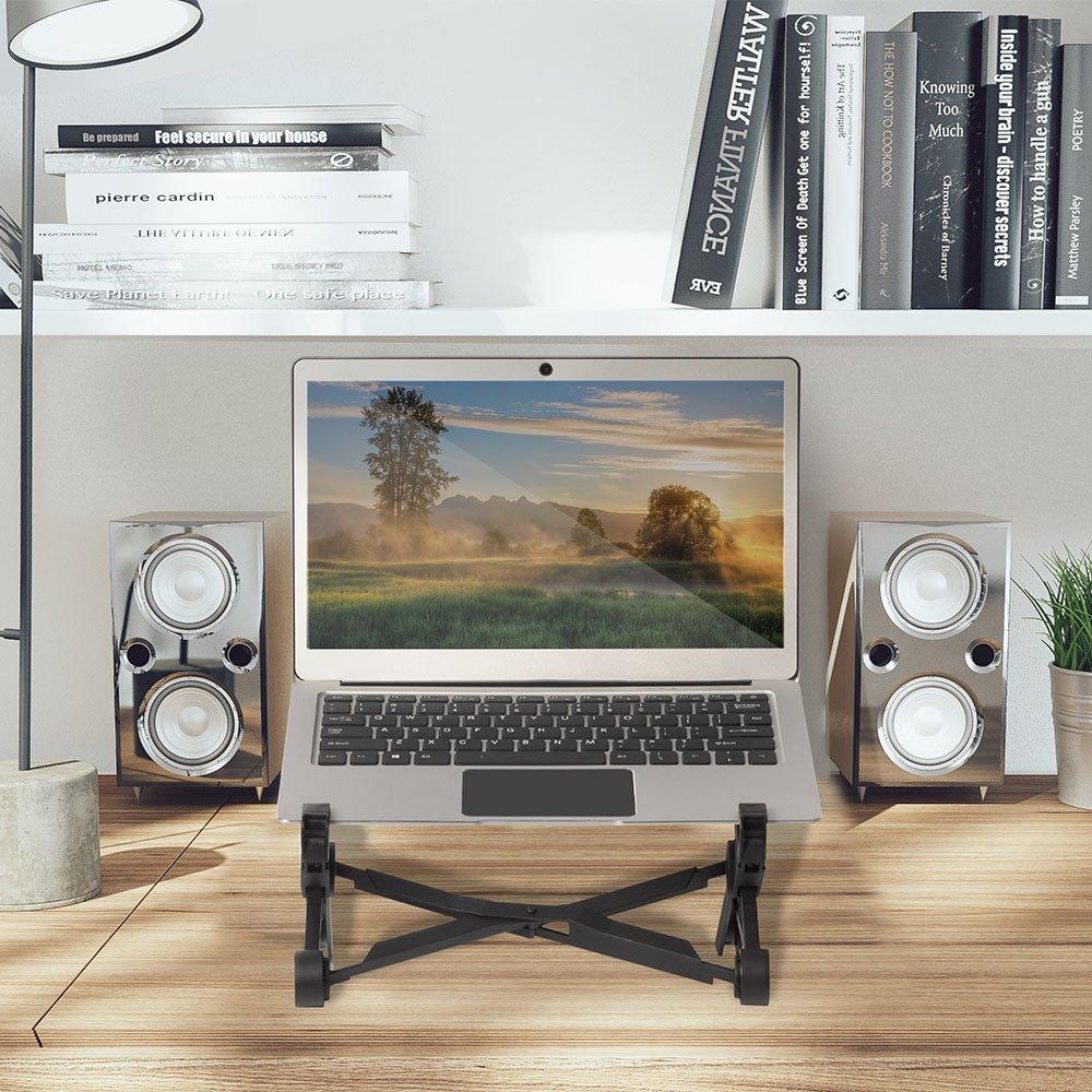 Racksoy Verstellbarer Computer Halterung Reise Laptop Ständer Faltbarer Notebook Halter Fit für PC/MacBook und die Meisten Laptops, Schwarz