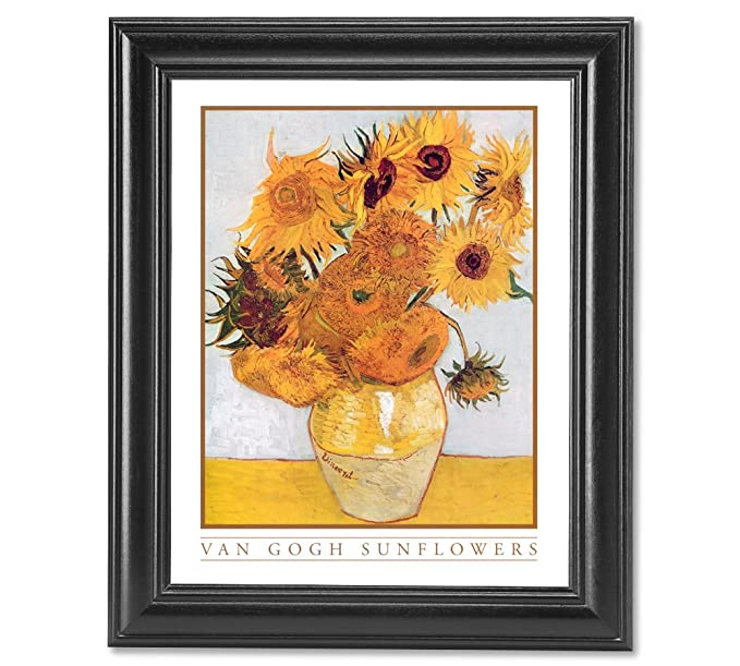 0cc28485b1d6a3 Amazon.com  Vincent Van Gogh Sunflowers Floral Wall Picture Framed Art  Print  Home Decor Products  Posters   Prints