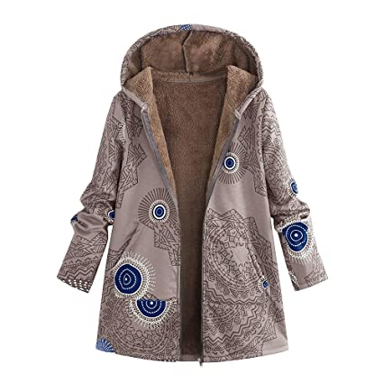 OverDose Damen Winterjacke Windjacke Mäntel Womens Warm Outwear Blumendruck Mit Kapuze Taschen Vintage Oversize Oberbekleidun