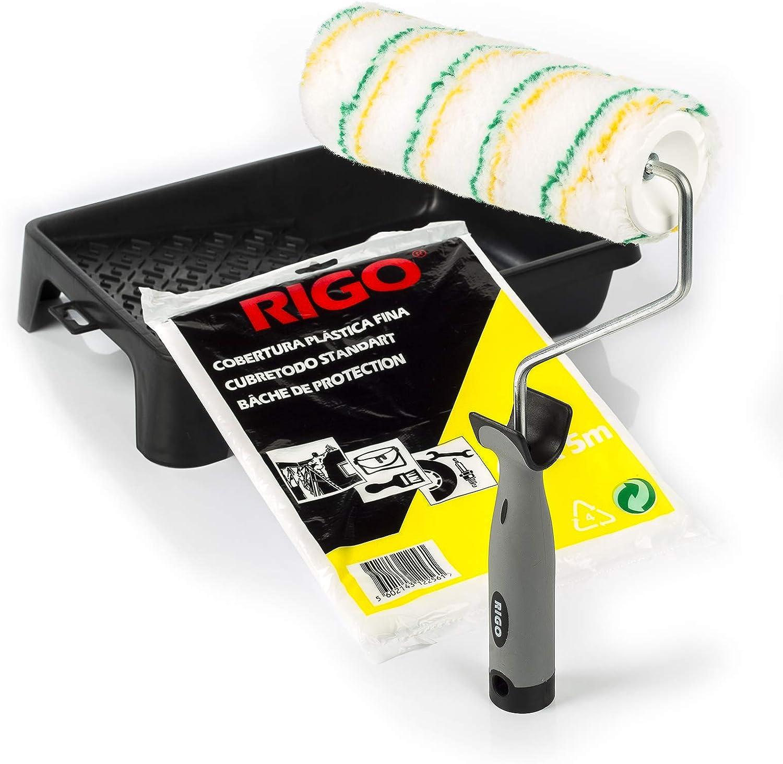 RIGO Rodillo Pintura Antigoteo Lavable y Reutilizable de 18cm con Bandeja y Cubretodo de 20m2 Calidad Profesional
