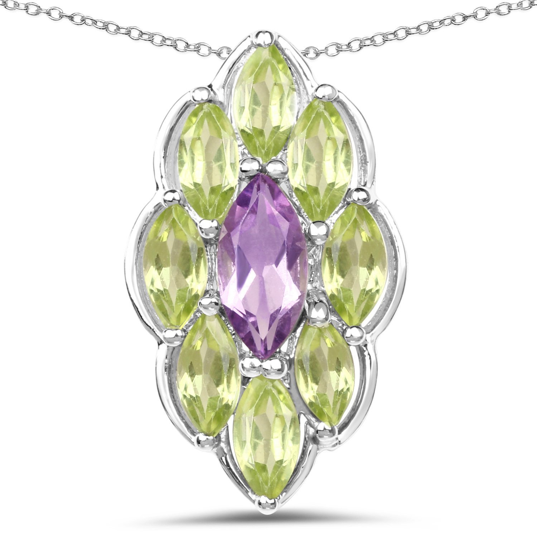 Johareez 4.36 Carat Genuine Amethyst /& Peridot .925 Sterling Silver Pendant