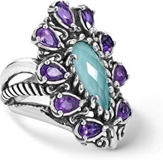 product image for Carolyn Pollack Sterling Silver Amethyst and Turquoise Gemstone Doublet Ring Sizes 5 to 10