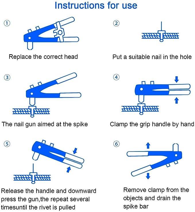 Vogvigo Pistola de Remaches Pasador de Remache el Filete de Inserci/ón Rivnut Incluye M3 M4 M5 M6 M8 Remaches de Servicio Pesado Kit de Remache 161 Piezas de Remache Ecou