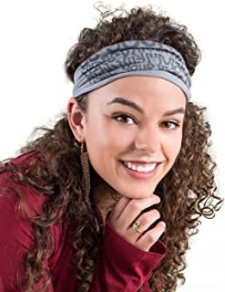 product image for Soul Flower Women's Manifesto Recycled Boho Headband, Grey Organic Cotton Stretchy Wide Half Bandeau Accessory