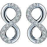 Pendientes de tuerca, de Infinite U, de plata de ley 925 con circonitas y diseño del símbolo de infinito, para mujer y…