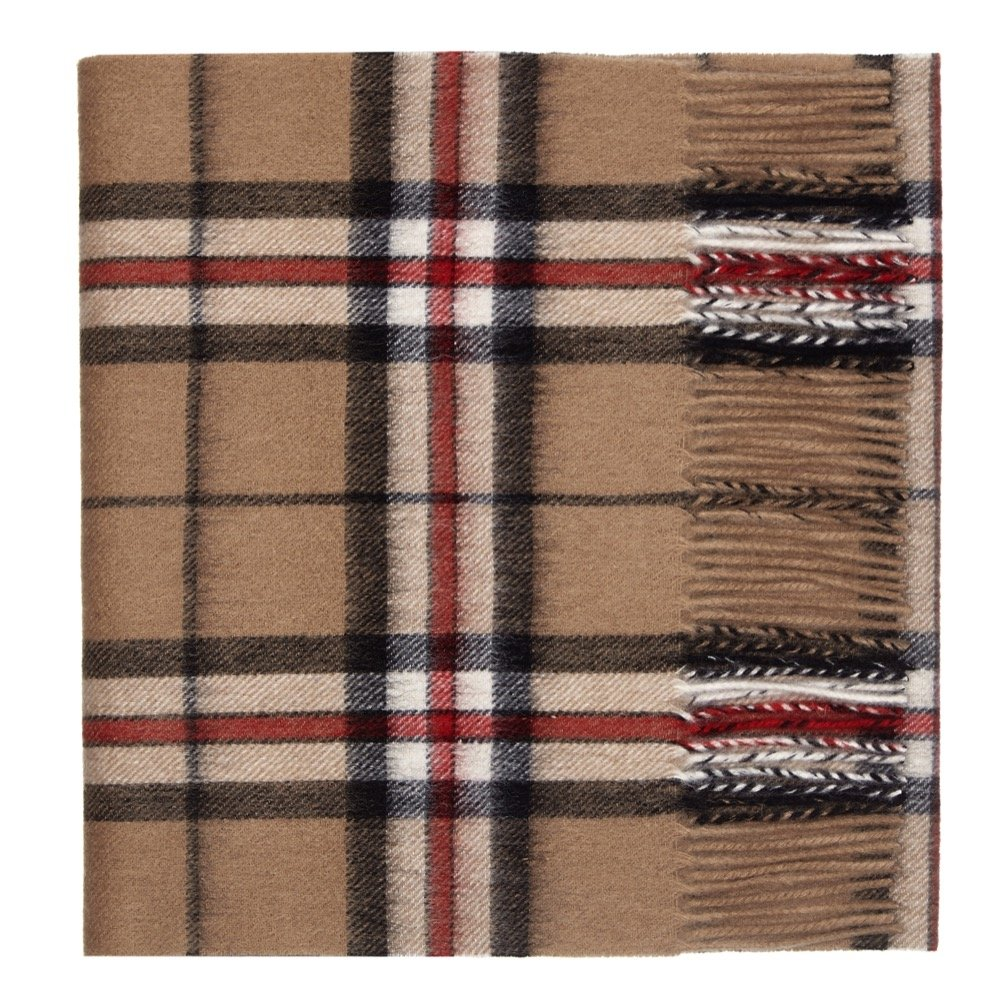 Oxfords Cashmere Pure Lambswool Luxury Tartan Scarf, Camel Thomson-One Size