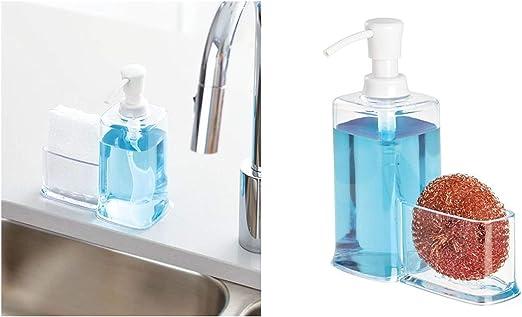 iDesign Dispensador líquido con estropajero, Organizador de Fregadero de plástico, dosificador de jabón con Porta estropajos, Transparente, 16,5 cm x 7,9 cm x 21,0 cm: Amazon.es: Hogar