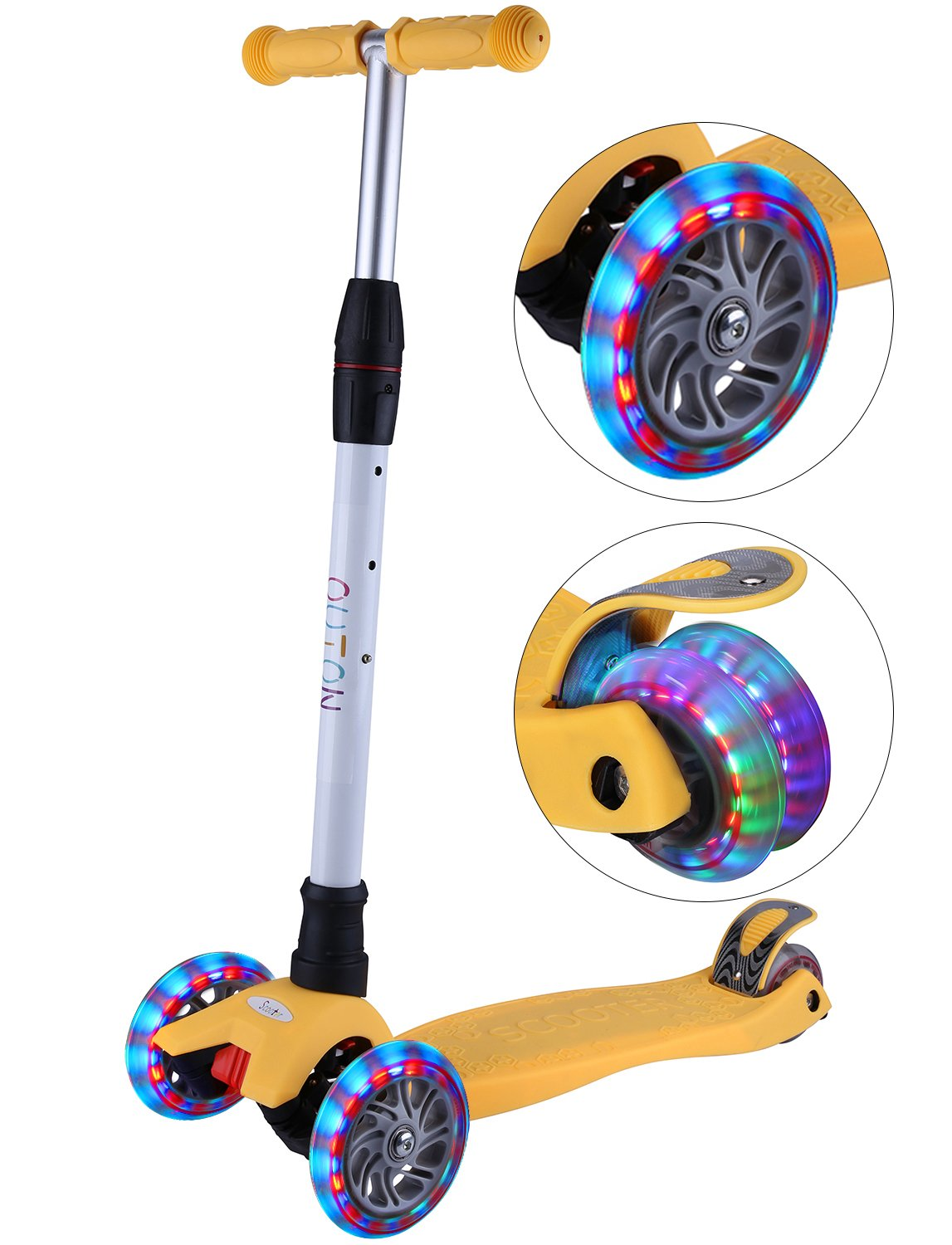 Outon Kick Scooter For Kids 3 Wheel Lean To Steer Adjustable Height PU ABEC-7 Flasing Wheels Yellow