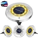 Solar Garden Lights Outdoor Landscape Ground Lights, VIRIDI 4 Pack 10 LED Super Bright Solar Powered Disk Spot Lights…