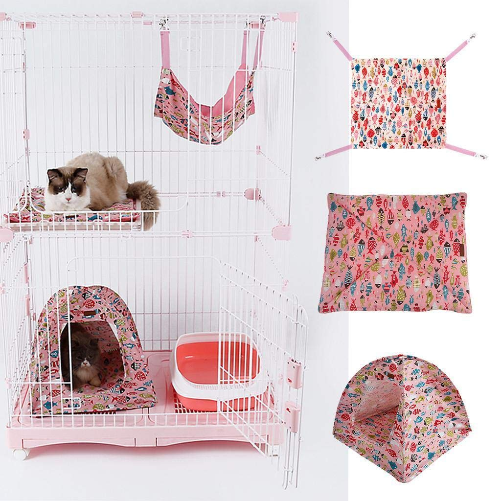 FidgetFidget Bed+Pet Cat Bed Fish Pattern Cat Kitten Camp Tent+Cat Kitten Hanging Hammock