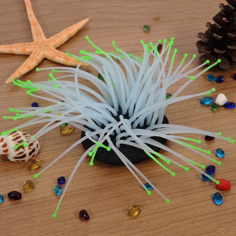 Hearthrousy Ornamento Dellacquario Anemone di Mare Artificiale per Acquario Silicone Luminoso Coral Coral Plant Vivid Simulation Plant Landscaping Decor Ornament