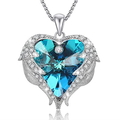 d090c55eee0edc Caperci Angel Wings Blue Swarovski Crystal Heart Pendant Necklace for  Women, Romantic Gift for Her