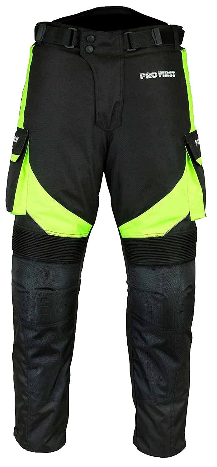 PROFIRST TR-001 | CE Approved Armoured Motorbike Motorcycle Trouser Pant Waterproof - Removable Lining - Big Pocket Design - Long Length Inside Leg 32 inch (Green - XS to 4XL)