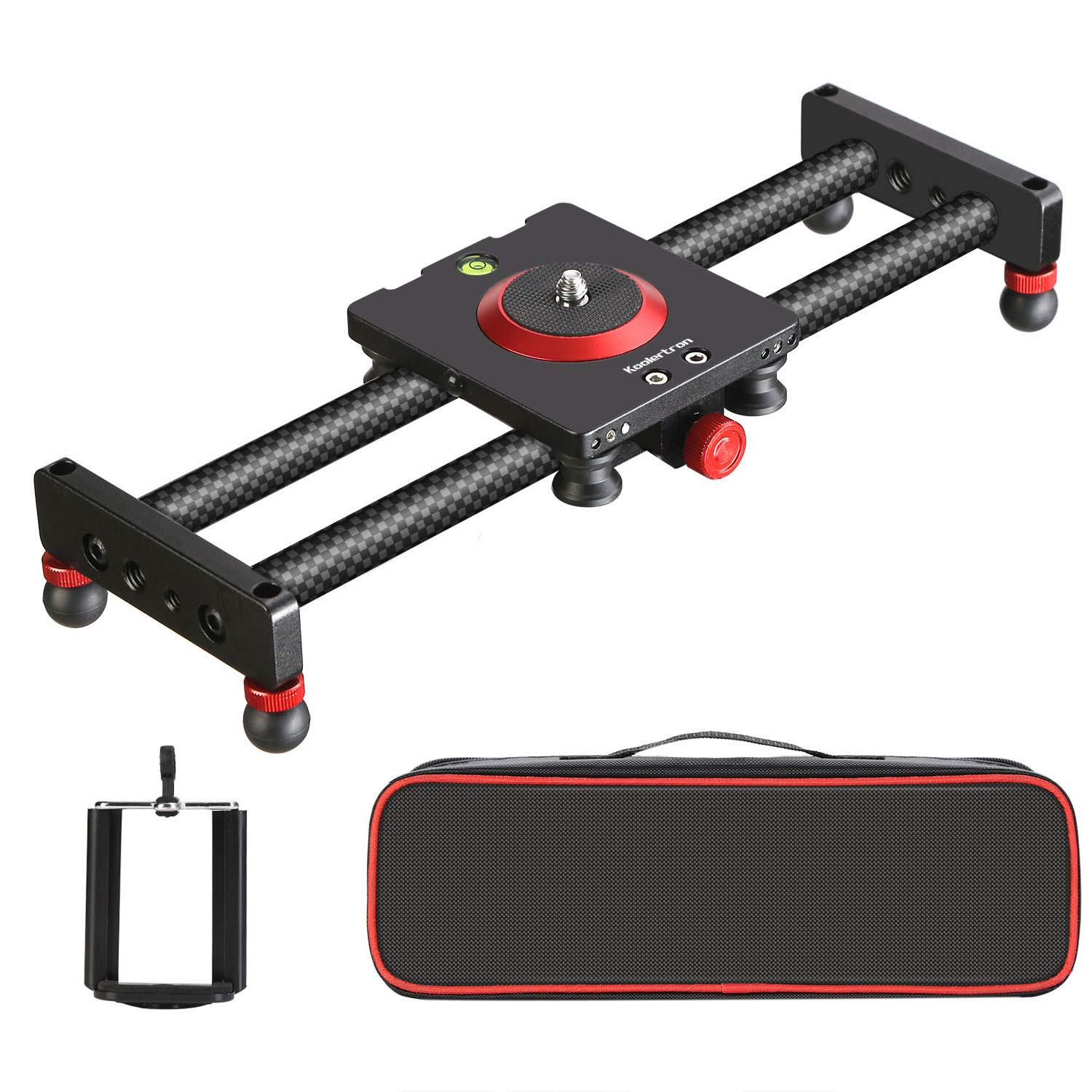 Koolertron Portable Carbon Fiber Camera Slider Dolly Track with 4 Roller Bearing for Video Movie Photography Making Stabilizing Nikon Canon Pentax Sony Cameras 11.02lbs Loading by Koolertron