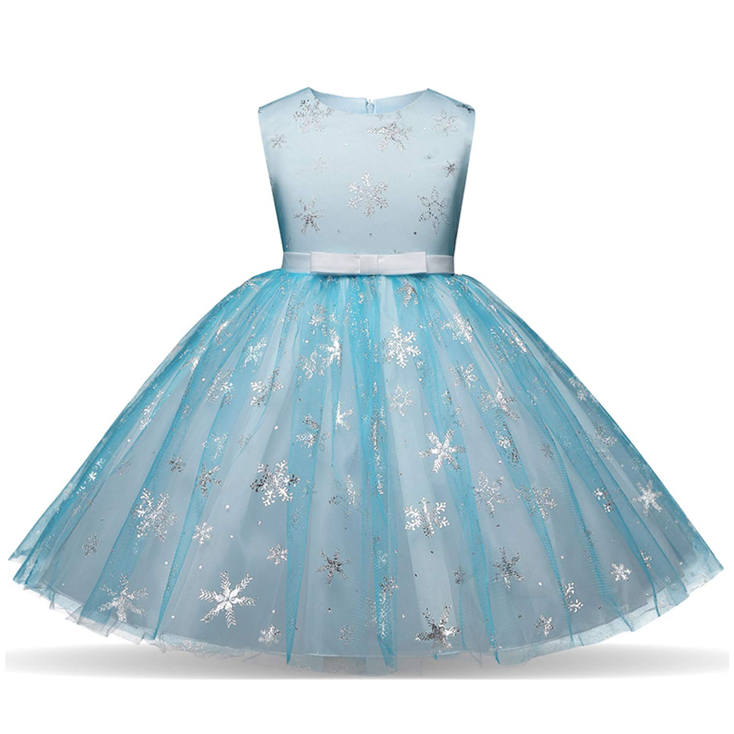 NNJXD Girl Sequin Princess Dress Tutu Tulle Birthday Wedding Formal Party Dresses Size (150) 7-8 Years Blue
