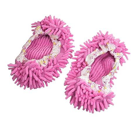 Par de dos mopas para pie abrillantador limpieza de polvo calcetines pantunflas rosas