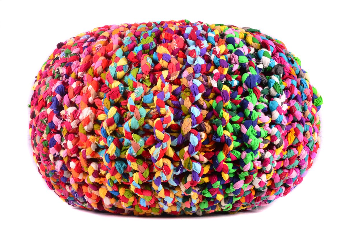 MystiqueDecors Large Multicolor Hand Knitted Pouf Ottoman Cotton Braided Round Floor Comfortable Seat Footstool 20''X16'' By by MystiqueDecors