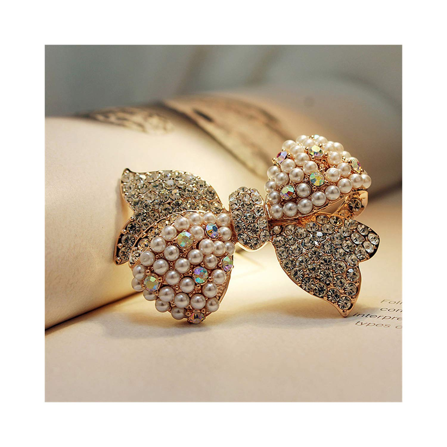 Women AUDIDI Brooches Pins, Rose Gold Color Zircon Crystal Luxury simulated pearl Bow Brooches Towel Buckle Fashion Jewelry for women MKY6139