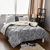 """Bedsure Branch and Plum Pattern Reversible Comforter Quilted Down Alternative Twin Comforter Diamond Stitching Printed Design Grey/Iovry 68""""x88"""" by"""