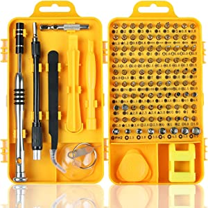 Precision Screwdriver Set, Apsung 110 in 1 Professional Screwdriver Set, Multi-Function Magnetic Repair Computer Tool Kit Compatible with iPhone/Ipad/Android/Laptop/PC etc (Yellow)