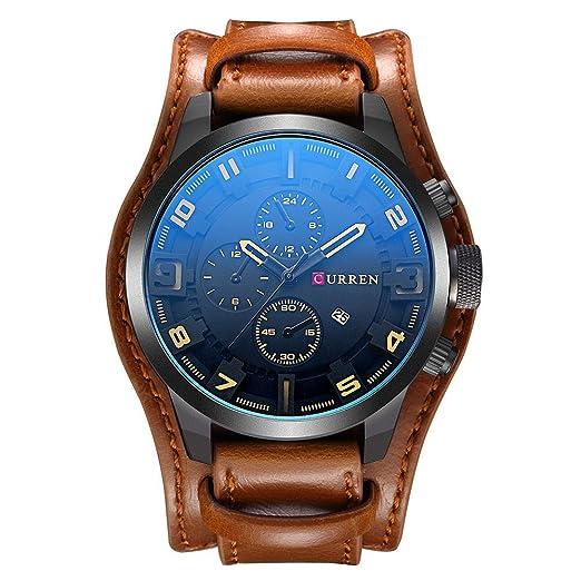 CURREN 8225 Reloj para hombres Reloj deportivo de pulsera de cuero de cuarzo militar de lujo negro Marca Sport Male Clock: Amazon.es: Relojes