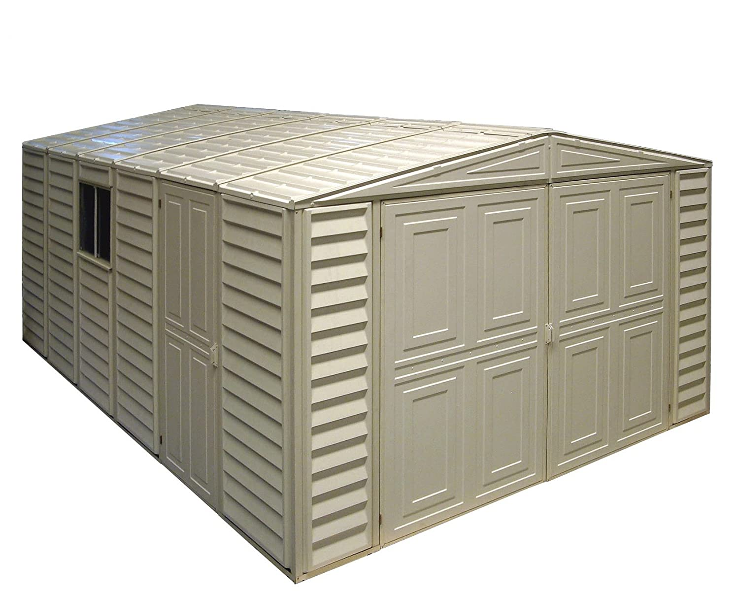 Amazon com duramax 01014 vinyl garage shed with foundation and window 10 by 15 5 inch storage sheds garden outdoor