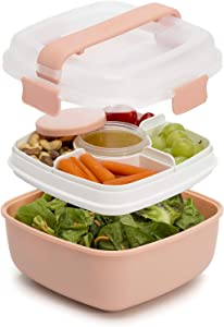Goodful Lunch To Go Salad Container, Leak-Proof Food Storage Made without BPA, Bento Style Removeable Compartments for Sandwich, Snacks, Toppings & Dressing, 7 Cup/48 Ounces, Apricot Blush