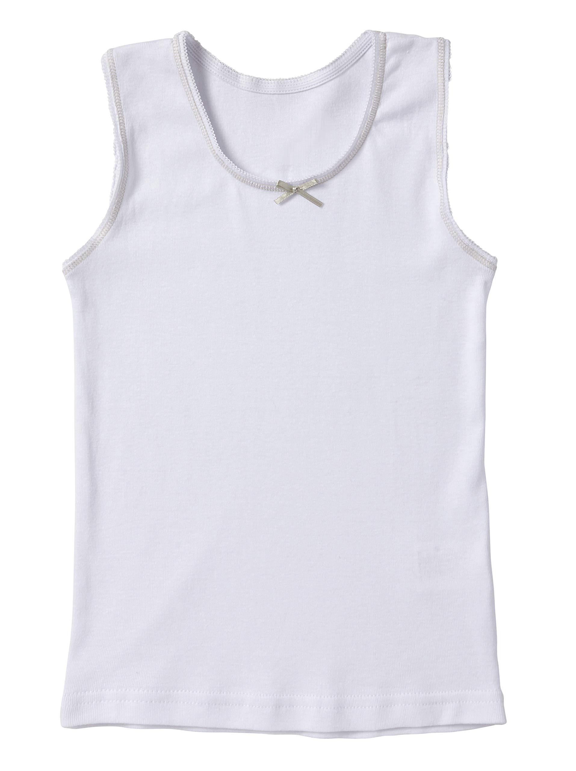 Sportoli Girls Ultra Soft 100% Cotton White Tagless Tank Top Undershirts - Size 6/7 by Sportoli (Image #4)