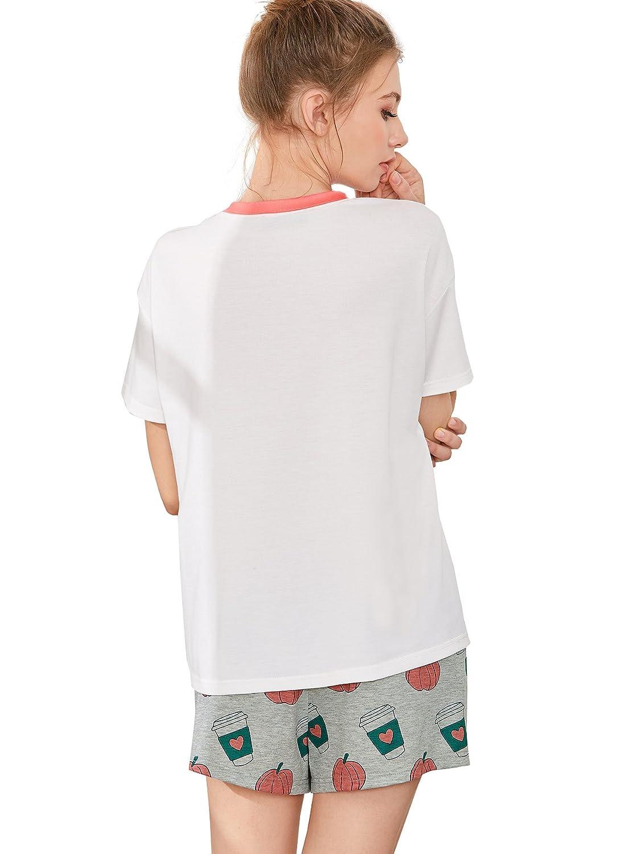 418107609dd6 DIDK Womens Cute Cartoon Print Tee and Shorts Pajama Set