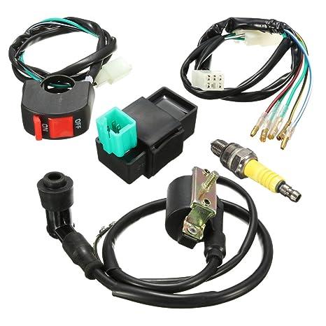 amazon com wiring loom kill switch coil cdi spark plug kit for rh amazon com