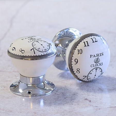 Pushka Home Vintage Chic Paris Clock Porcelain Ceramic Internal ...