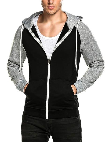 1e30a3a5919c1 DAIKEN Men's Zip Up Hoodie Color Block Slim Fit Hooded Sweatshirt with  Kanga Pocket (Black