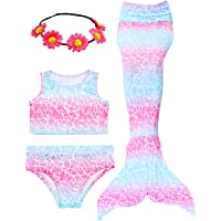 Garlagy 3 Pcs Girls Swimsuit Mermaid Tails for Swimming Princess Bikini Bathing Suit Set Can Add Monofin for 3-12Y