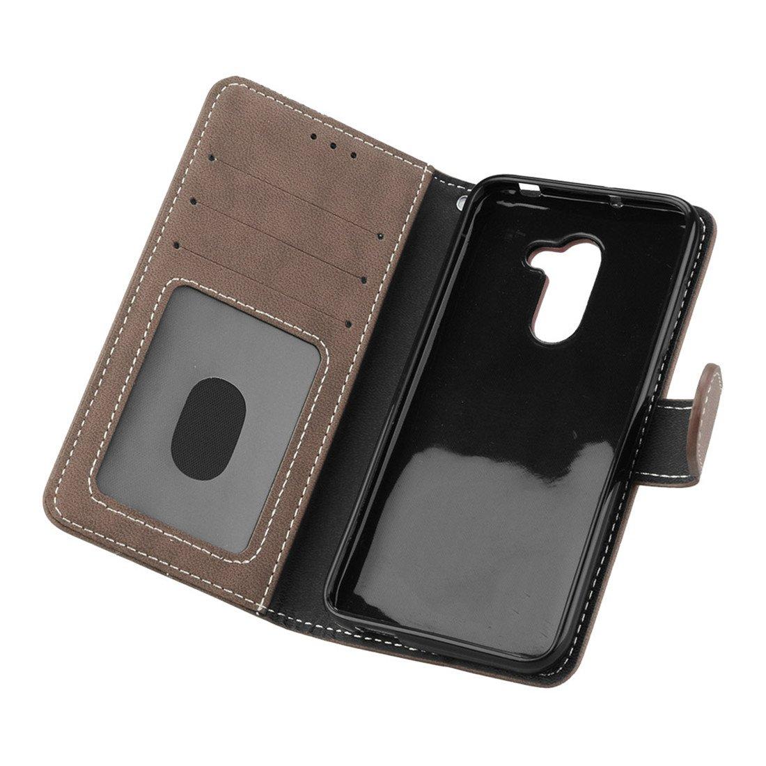 Negro Retro Frosted 3 Card Slots Cuero De La PU Magn/ético Capirotazo Billetera Apoyo Bumper Protector Cover Funda Carcasa Case HiKing Para Alcatel A3 Funda