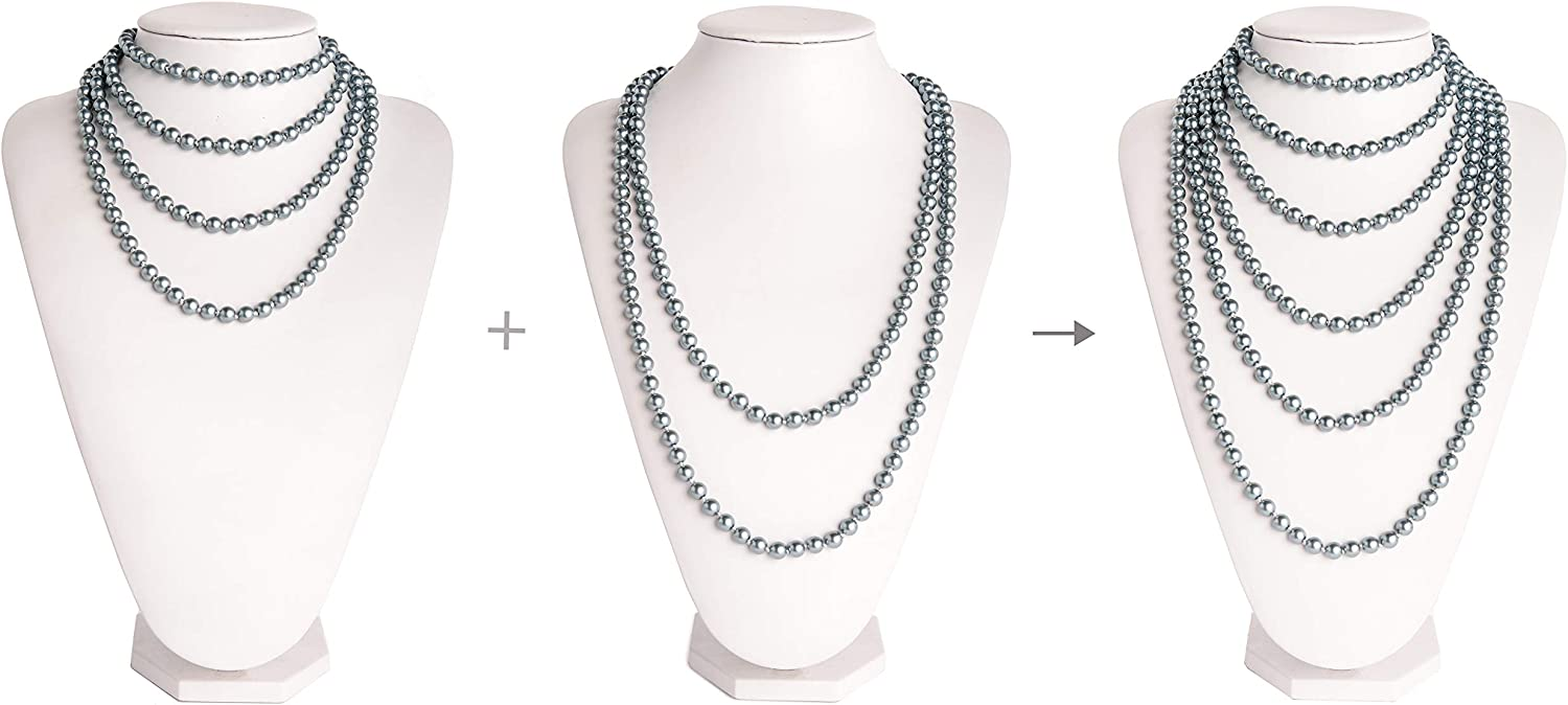 Fashion Faux Pearls 1920s Pearls Necklace Gatsby Accessories Cluster 59 Long Necklace for Women D-1 59 necklace +1 71 necklace//Grey