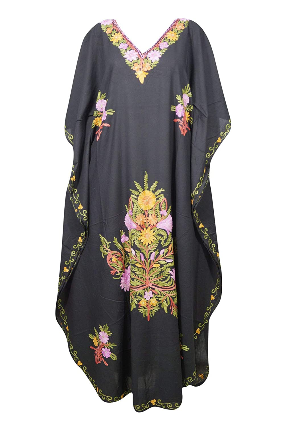 Mogul Interior Womens Caftan Maxi Dress Black Embroidered Kaftan One Size caf-59
