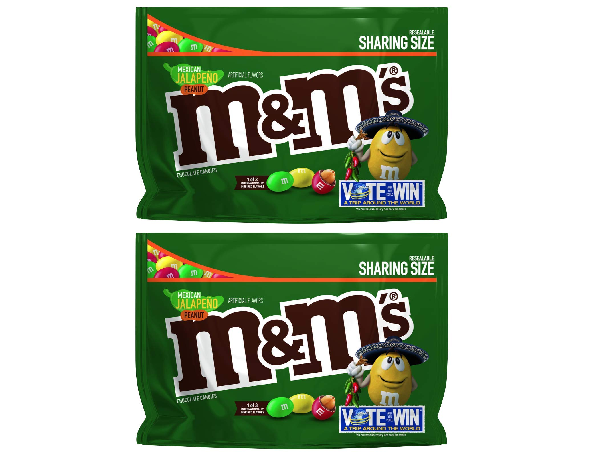 M&M's (Pack of 2) Chocolate Candy Flavor Vote Mexican Jalapeno Peanut Sharing Size, 9.6 Ounce Bag by M&M'S