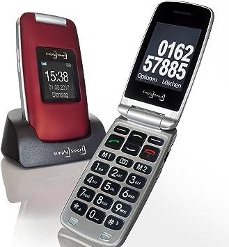 Simply Smart - Teléfono móvil con teclas grandes, para personas mayores, 100 MB, rojo burdeos, plegable, con cámara, luz led, tecla de llamada de ...