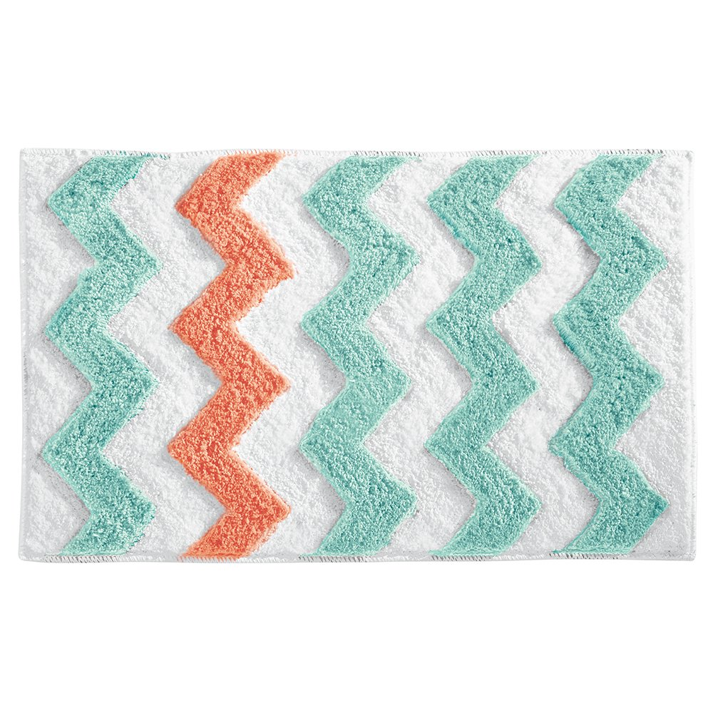 InterDesign Microfiber Chevron Bathroom Shower Accent Rug - 34 x 21, Aruba/Coral 19053