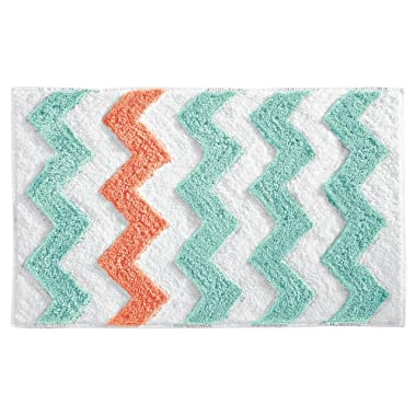 InterDesign Microfiber Chevron Bathroom Shower Accent Rug - 34  x 21 , Aruba/Coral