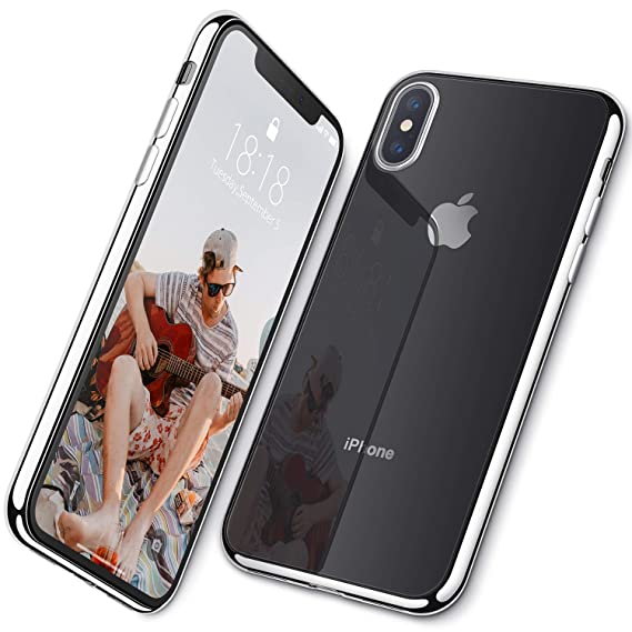2c686d8b516aa DTTO Case for iPhone Xs Max Lightening Series Clear Stylish Flexible Case  with Metal Luster Edge for Apple iPhone Xs Max, Silver/White