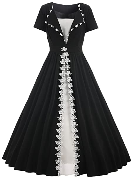 YTJH Donne Vestiti Vintage anni  54 Abito da Sera a Maniche Corte Elegante  Vestito con 35b132367a3