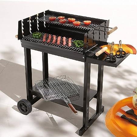 BBQ Barbecue à charbon rectangle 62 x46 cm à roulettes