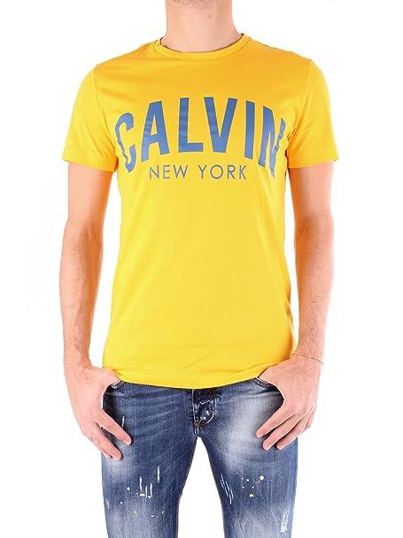 Calvin Klein Jeans Hombre Camiseta ajustada Tibokoy, Amarillo, X-Large: Amazon.es: Ropa y accesorios