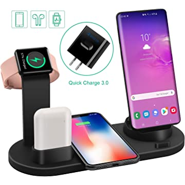 Labobbon Wireless Charger Dock, 4 in 1 Wireless Charging Station for Multiple Devices,Wireless Charger Stand for iWatch and AirPods with QC3.0 Fast Wall Charger Compatible iPhone X/Xs Max/8/8 Plus