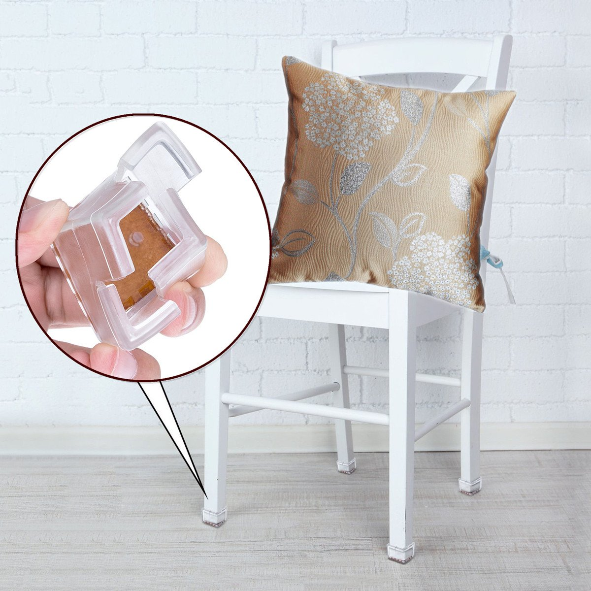 Aibily Silicone Chair Leg Caps Furniture Leg Covers Caps Transparent Chair Leg Pads with Felt Table Feet Protectors for Home/Office Furniture 16 Pack, Fit Square Length 1-1/4 to 1-3/8 inch