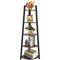 5 Tier Corner Shelf, Rustic Corner Bookcase Storage Rack Plant Stand, Ladder Bookcase with Metal Frame, Ideal for Living…